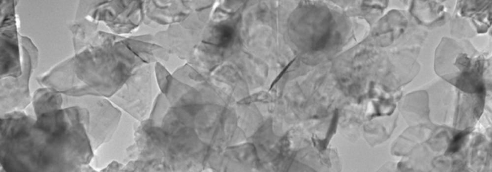 Scanning electron micrograph of boron nitride flakes